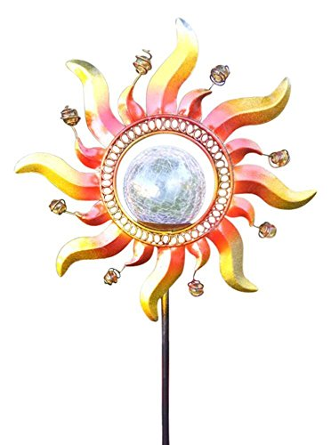 Solar Powered Glass Crackle Stake Color Changing Light with New Shining (Decorative Garden Stake)