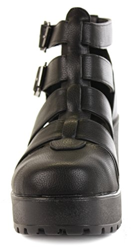 Plateau 8 Sandalen Gladiator Booties Keilabsatz Heeled Stiefeletten Womens Größe 3 Schwarz Schuhe Ausschnitt xBqUwRSZ