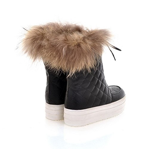Artificial Round Boots 5 Bandage Plush Close and Short PU Low Solid Toe turf Womens AmoonyFashion M B 5 Heels US with Black vfqE7n
