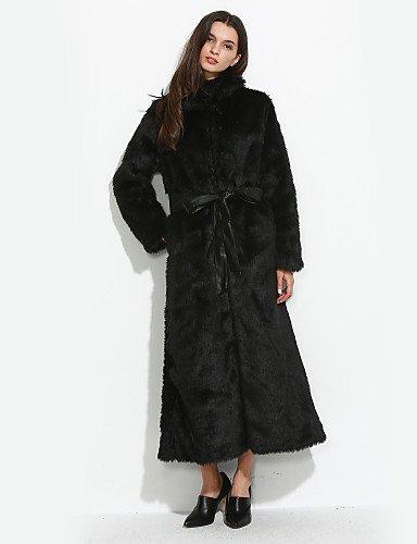 女性と 039 ; sのカジュアルなデイリー形式の単純なストリートシックなファーコートソリッドスタンドロングスリーブの冬の白と黒の厚い毛皮のフェイク,xl,ホワイト B077RVC7K4
