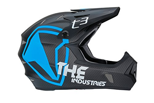 THE Industries Adult T3 Carbon Shield BMX and Mountain Bike Helmet, Black/Blue, 55-56cm/Small