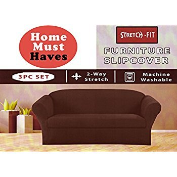 E&A LINEN CORP.STRETCH FORM FIT - 3 Pc. Slipcovers Set, Couch/Sofa + Loveseat + Chair Covers (TAUPE)