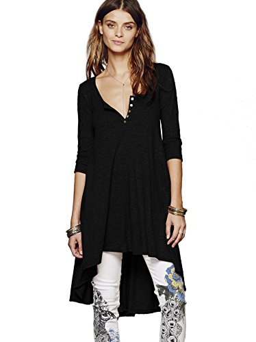 Urban CoCo Women's Half Sleeve High Low Loose Casual T-Shirt Top Tee Dress (Small, Black) -