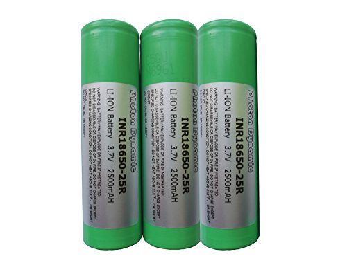 PhotonDynamic 18650 Rechargeable Batteries INR18650-25R 2500mAh 3.7v 20A Discharge Li-ion 18650 Flat Top Battery(3PCS)