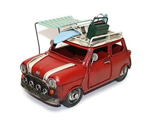 【Misty Wood】 ブリキ ミニクーパー レッド おもちゃ ミニチュア 模型 アンティーク仕上げ コレクション