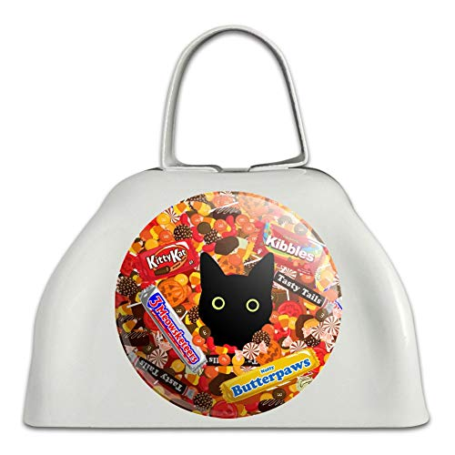 Halloween Black Cat Hiding in Candy White Metal