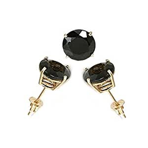 crazy2shop 14 K oro amarillo redondo negro imitación de diamante pendientes Set, Prong Setting