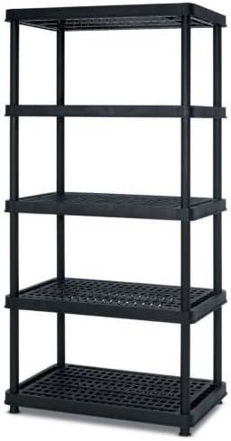 4//5 Tier Plastic Shelf Garage Shelving Racking Storage Heavy Duty Racking Black