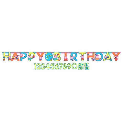 Pig Piece 10 (American Greetings Peppa Pig Add-an-Age Birthday Party Banner, 1 Piece, Made from Paper, Birthday, 10 1/2 feet x 10