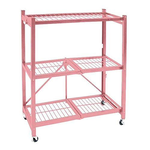 Origami General Purpose Collapsible Foldable 3-Shelf Small Storage Rack with Wheels, Pre-Assembled - Coral