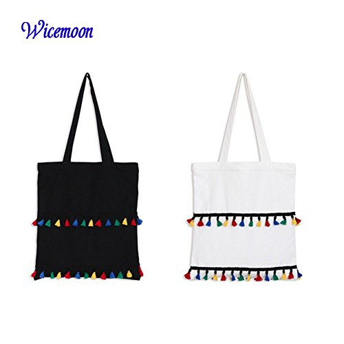 Wicemoon Packbag Canvas Black Handbags Shoulder Bag Lovely Tassel Shopping with Zipper Student Tote 0qZr0gw