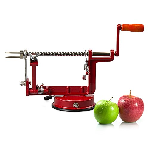 TrueCraftware Heavy Duty Red Apple Peeler, Corer and Slicer Machine with Suction Base - Apple Spiralizer - Great for Pies, Desserts, Snacks - Peeler Slicer - Apple Peeler Basics