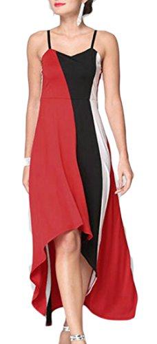 Low Striped Summer Red Jaycargogo High Spaghetti Strap Dress Patchwork Women q0ztxzZ