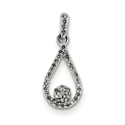 Argent Sterling diamant pendentif en forme de goutte-Rough JewelryWeb