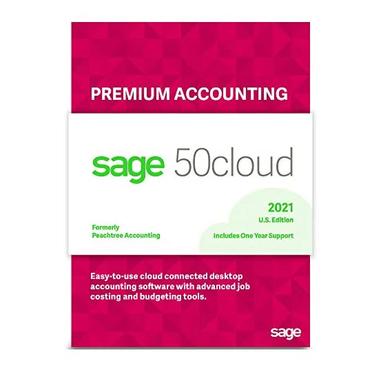 Sage Software Sage 50cloud Premium Accounting 2021 U.S. 2-User One Year Subscription Cloud Connected Small Business…