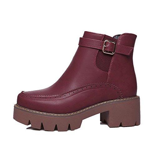 AgooLar Women's PU Round-Toe Pull-On Kitten-Heels Solid Boots Claret r71aK0gF
