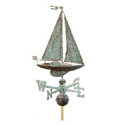 Whitehall Products Copper Sailboat Weathervane, Verdigris