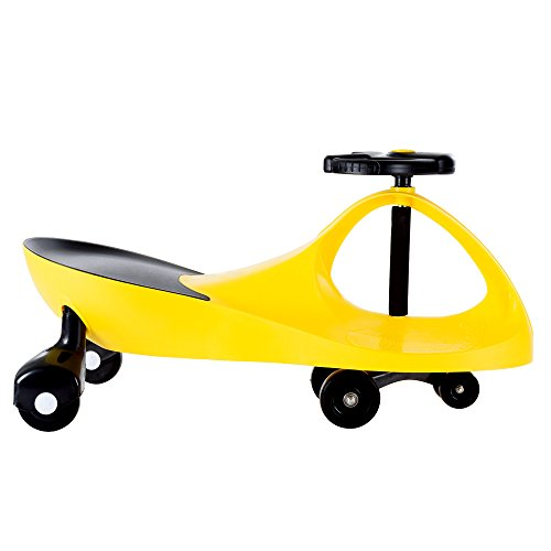 Ride On Car, No Batteries, Gears or Pedals, Uses Twist, Turn, Wiggle Movement to Steer Zigzag Car-Yellow, for Toddlers, Kids, 2 Years Old and Up