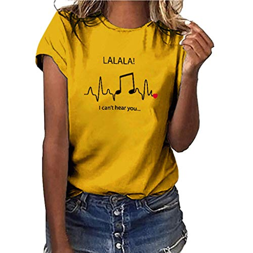 Smdoxi Summer Women's Shirt Solid Color Music Pattern Large Size Printed Shirt Short-Sleeved T-Shirt top Yellow]()