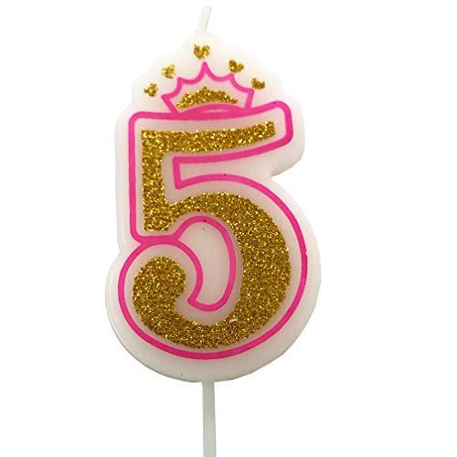 PartyMart Number 5 Giltter Candle, Pink Number 5]()