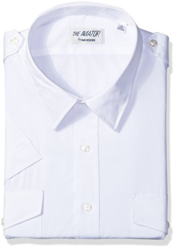 Van Heusen Men's Short Sleeve Aviator Shirt,white,15.5