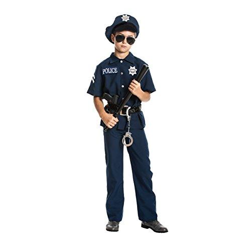 Kostümplanet® Polizei-Kostüm für Kinder + Handschellen und Mütze + Schlagstock, Farbe: blau, Größe: 128 Verkleidung Faschingskostüm - Jungen Polizist Kostüm