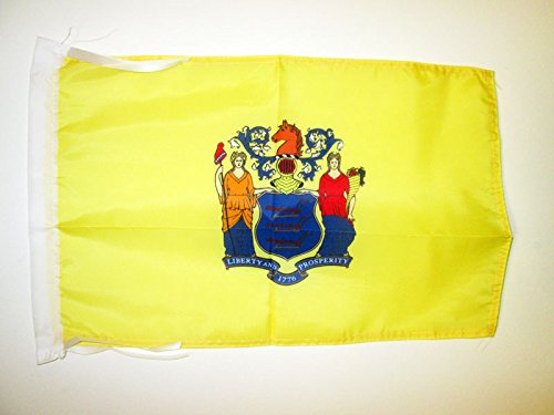 AZ FLAG New Jersey Flag 18'' x 12'' Cords - US State of New Jersey Small Flags 30 x 45cm - Banner 18x12 in