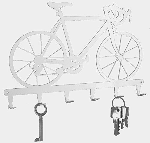 Puri Suspension (Key holder / hook - Racing bicycle - Bike - key hooks for wall - 6 hooks - metal - pure white)