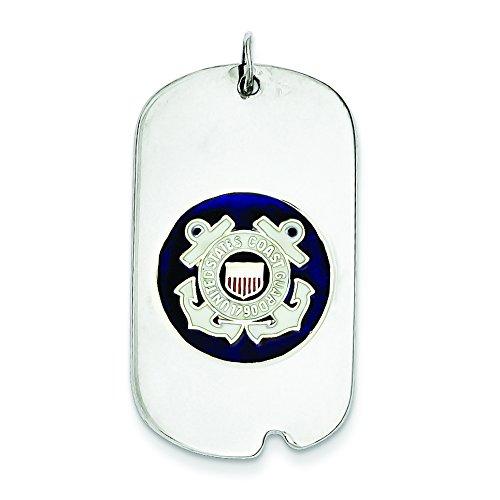 Sterling Silver US Coast Guard Dog Tag Charm - JewelryWeb