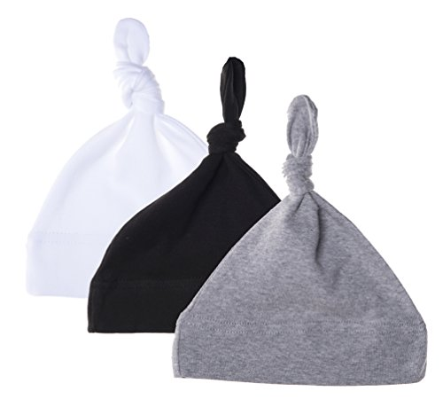 Mato & Hash Unisex Baby 100% Cotton Adjustable Knot Hat 3PK Black/White/HthrGrey