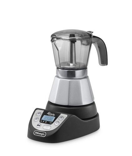 DeLonghi EMKP42.B Electric moka pot 4cups Negro, Plata - Cafetera (Cafetera moka eléctrica, De café molido, 450 W, Negro,...