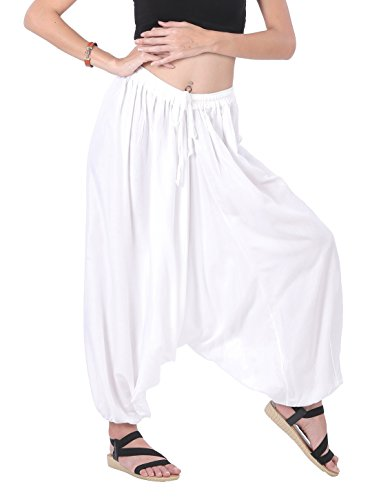 CandyHusky's Men Women Rayon Baggy Yoga Harem Pants Plus Size (White) (Aladdin Harem)