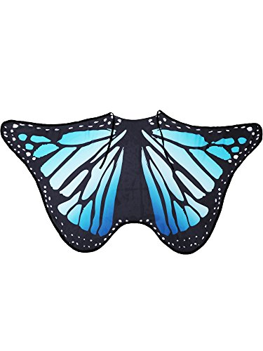 Blulu Butterfly Wings Shawl Poncho Nymph Cape Fairy Ladies Tippet for Halloween Party Wings Dancing Accessories (Blue, 200 x 130 cm)