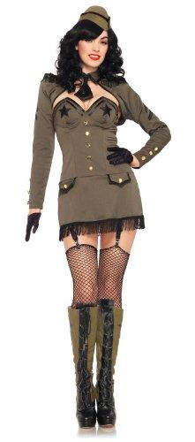 (Leg Avenue Women's 5 Piece Pin Up Army Girl Costume, Khaki,)