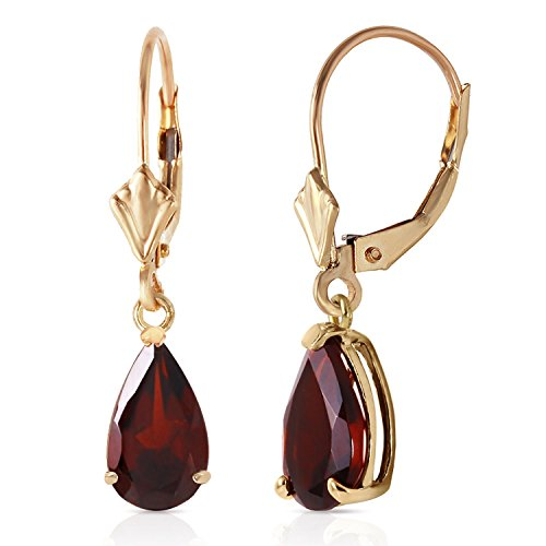 2.45 Carat 14K Solid Gold Leverback Earrings Garnet