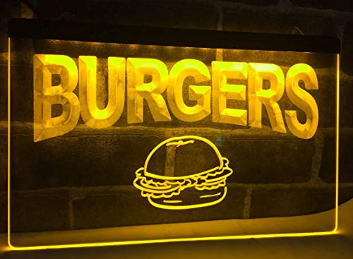 Burgers Cafe Neon Sign for Your Store 11.8inch x 7.8inch - Yellow Colour