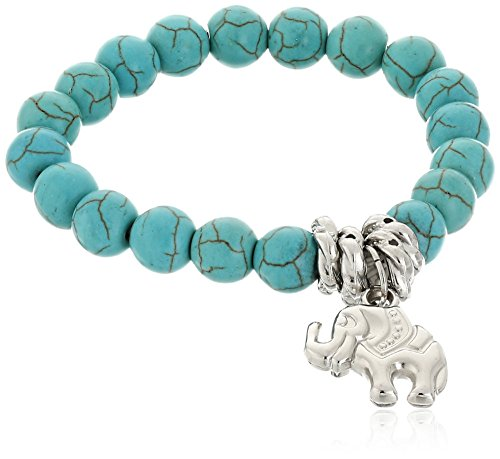 BODYA Chap Turquoise Beads Tibetan Silver Lucky Elephant Stretch Beaded Bangle Wrap Bracelet Women Turquoise Buddha Pendant