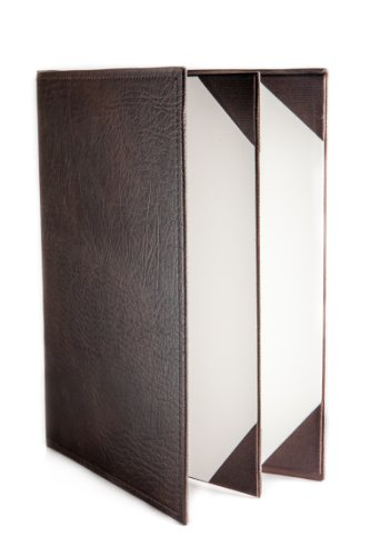 Menu Covers Made In Italian Faux Leather (10-Pack) - 8.5'' X 11'' - 4 Views - Brown by Menu Cover
