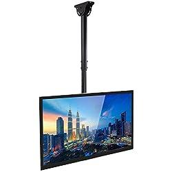 Mount-It! TV Ceiling Mount Bracket, Adjustable Height Full Motion 360 Deg Rotation Tilting Swiveling Flat Panel LCD LED OLED Plasma TVs, Fits up to 75 inch TVs, 110 Pound Capacity, Black (MI-509B)