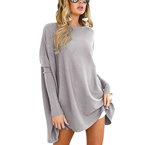 PARTY LADY Women's Long Sleeve Tunic Top Blouse Round Neck Shirt Tunic Tops Size M Grey (Top New Design)