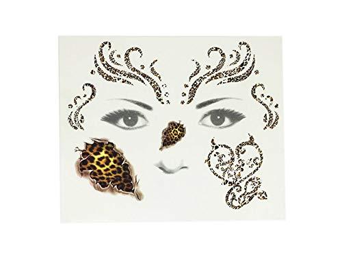 Junson Happy Halloween Leopard Print Face Tattoo Sticker Temporary Sticker for Halloween Party (Golden) for Halloween