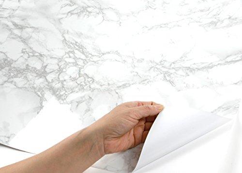 ROSEROSA Peel and Stick PVC Instant Marble Decorative Self-Adhesive Film Countertop Backsplash Napoleon Marble (PGS408 : 4.00ft X 6.56ft) by ROSEROSA (Image #4)