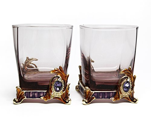 By Versace Inspired (RORO Set of 2 Luxury Enameled and Jeweled Bohemia Crystal 9.5-oz Beverage DOF Rocks Glasses, Versace-inspired, Swarovski Decoration, Luxury Home Accessories)