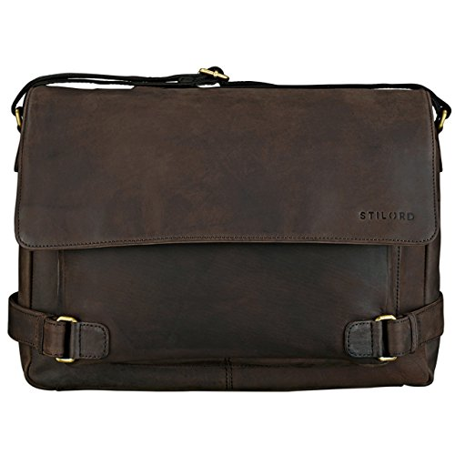 STILORD Luca Borsa da Postino Vintage Design Uomo Donna Business Borsa per il portatile 15.6 pollici, Colore:cognac-marrone marrone scuro - pallido