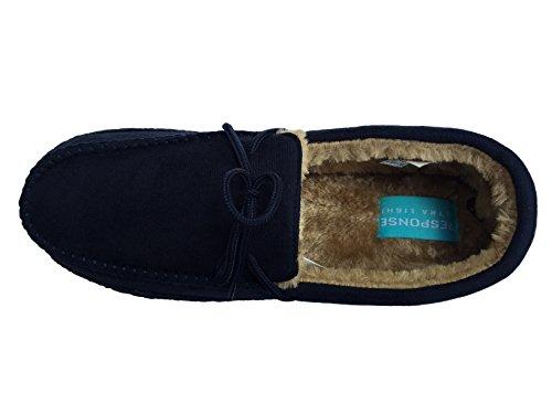 Warm Bequem Dunkelblau leicht Kunstwildleder UK 12 Gesteppt Größe Pantolette Mokassin NEU 7 Weich Slipper Herren xYAqZBnX