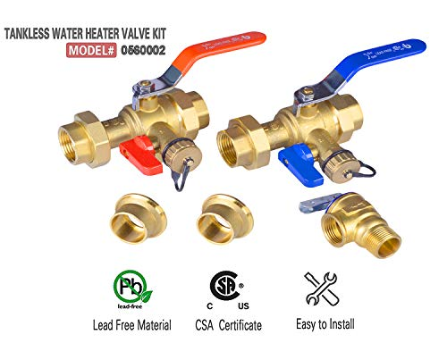 - Hydro Master 1-Inch IPS Isolator Tankless Water Heater Service Valve Kit with Pressure Relief Valve Included 2 pcs SWT Connections, Clean Brass
