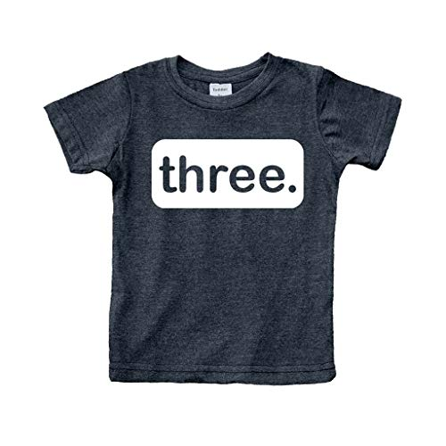 3rd Birthday Shirt boy Third Outfit 3 Year Old Toddler Gift Baby Tshirt Party Shirts (Charcoal Black, 3y)