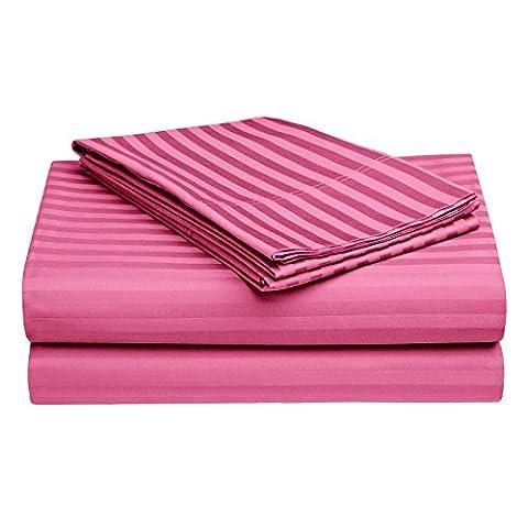 Story@Home RIVIERA Collection Wrinkle Free Deep Pockets 100 % Cotton 4 Piece Bed Sheet Set Satin Stripe Series Size: California King- Hot - Pink Satin Sheet Set