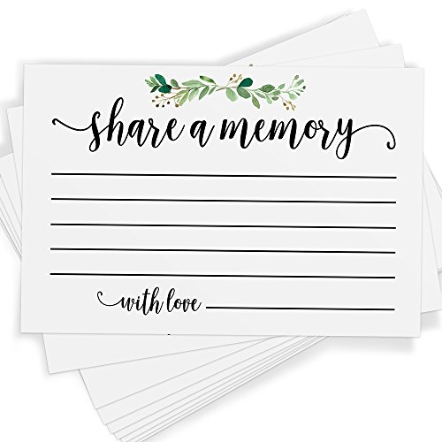 Share a Memory | Set of 25 Cards and Sign | Celebration of Life, Birthday, Wedding, Anniversary, and Retirement | Guest Book Ideas and - Guest Measures Book