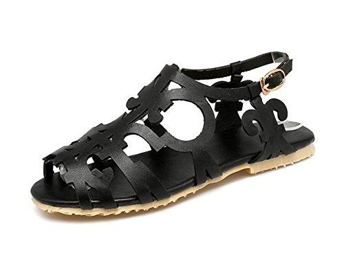 Xie estudiante Adolescente 42 antideslizante 42 Black huecas Para 1cm 37 zapatos 34 Mujer Planas Comfort Romanos Sandalias Black RrqvSzR